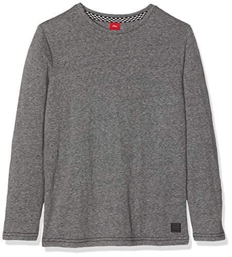 s.Oliver Junior Jungen 75.899.31.1003 Langarmshirt, Schwarz (Grey/Black Melange 99w5), 164 (Herstellergröße: L/REG)