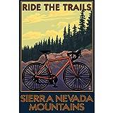 Letrero de lata vintage Sierra Nevada Montañas California Ciclismo Trail Decoración de pared 20,3 x 30,5 cm Cartel retro Decoración de Bar Cartel de Garaje