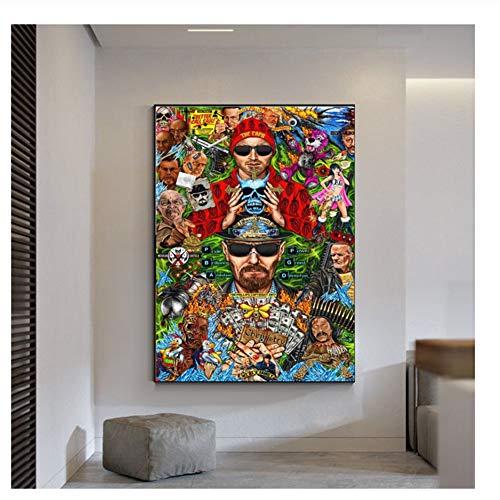 Suuyar Poster und Drucke Breaking Bad TV Leinwand Malerei Poster Wanddekoration Druck auf Leinwand Wandkunst -50x70cm Kein Rahmen