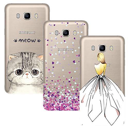 ChoosEU Compatibile con 3X Cover Samsung Galaxy J5 2016 Trasparenti Silicone Disegni Colorate Belle TPU Morbido Antiurto Gomma Custodia Slim Bumper Case Chiaro Protezione Ultra Sottile - Ragazza