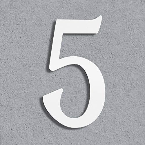 Thorwa® moderne Design Edelstahl Hausnummer Cabaletta, weiß pulverbeschichtet, H: 160mm, RAL 9003 (5)