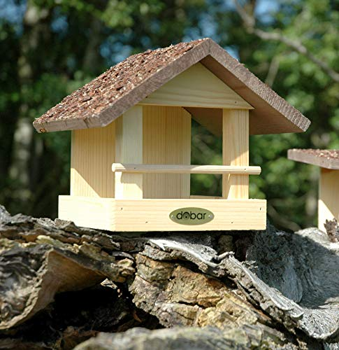 dobar 38120FSCe Vogelhaus klein aus Holz mit Rindendach, 20 x 22.5 x 18 cm - 3