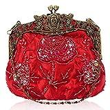 IRYNA - Bolso de mano floral para mujer, para boda, fiesta, noche, banquetes, Red, Medium