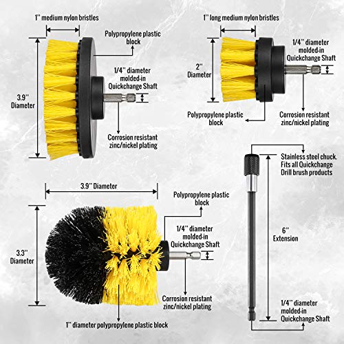 Drill Brush Attachment Set - Power Scrubber Brush Cleaning Kit - All Purpose Drill Brush with Extend Attachment for B   athroom Surfaces, Grout, Floor, Tub, Shower, Tile, Corners, Kitchen and Car