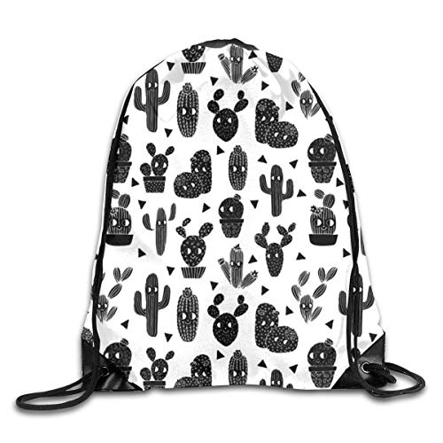 Cactus Happy Cactus Black And White Cute Kids Funny Summer Plants Drawstring Gym Bag for Women and Men Polyester Gym Sack String Backpack for Sport Workout, School, Travel, Books 14.17 X 16.9 inch