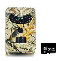 OWSOO トレイルカメラ 狩猟カメラ1080P1 2MPデジタル 防水 農場安全保護カメラ 赤外線暗視カム 野生生物ハンティング/観測カメラ 32Gメモリカード付き