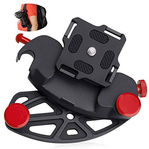 Kameraclip zum Tragen, HICOO Aluminiumlegierung Schnellwechselplatte Universeller Kamerahalter für Reisen, Sport, Radfahren, Wandern, Feldtraining