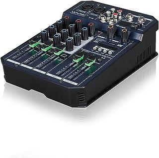 Mini 2CH 4 Channel Audio Sound Mixing Bluetooth Mixer Console Sound Card Digital Live KTV Kalaok USB MP3 Player Stereo Rec...