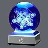 XINTOU 3D Metatron's Cube Crystal Ball with LED Colorful Lighting Touch Base, Flower of Life Night Light, Grid Sacred Geometry Sphere for Meditation Decor, Spiritual Decor