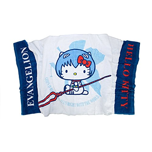 Evangelion X Hello Kitty Bath Towel Blue Rei Ver