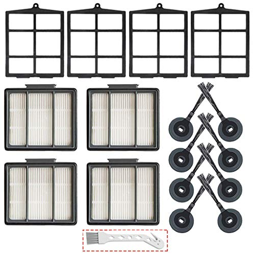 Lemige 16 Pack Replacement Parts Compatible with Shark ION Robot R85 RV850 R71 R72 R75 S86 S87 Vacuum Cleaner, 4 Primary Filters &4 HEPA Filter & 8 Side Brushes