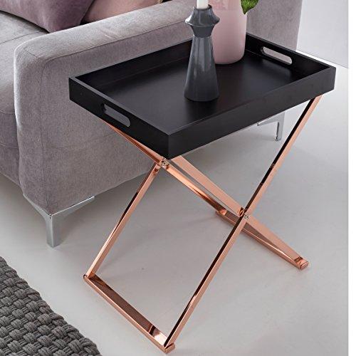 Plateau de Table TV plié 48x61x34cm MDF Noir/cuivre   Table Basse Design avec Plateau Table Basse Moderne   Bois de Table Plateau