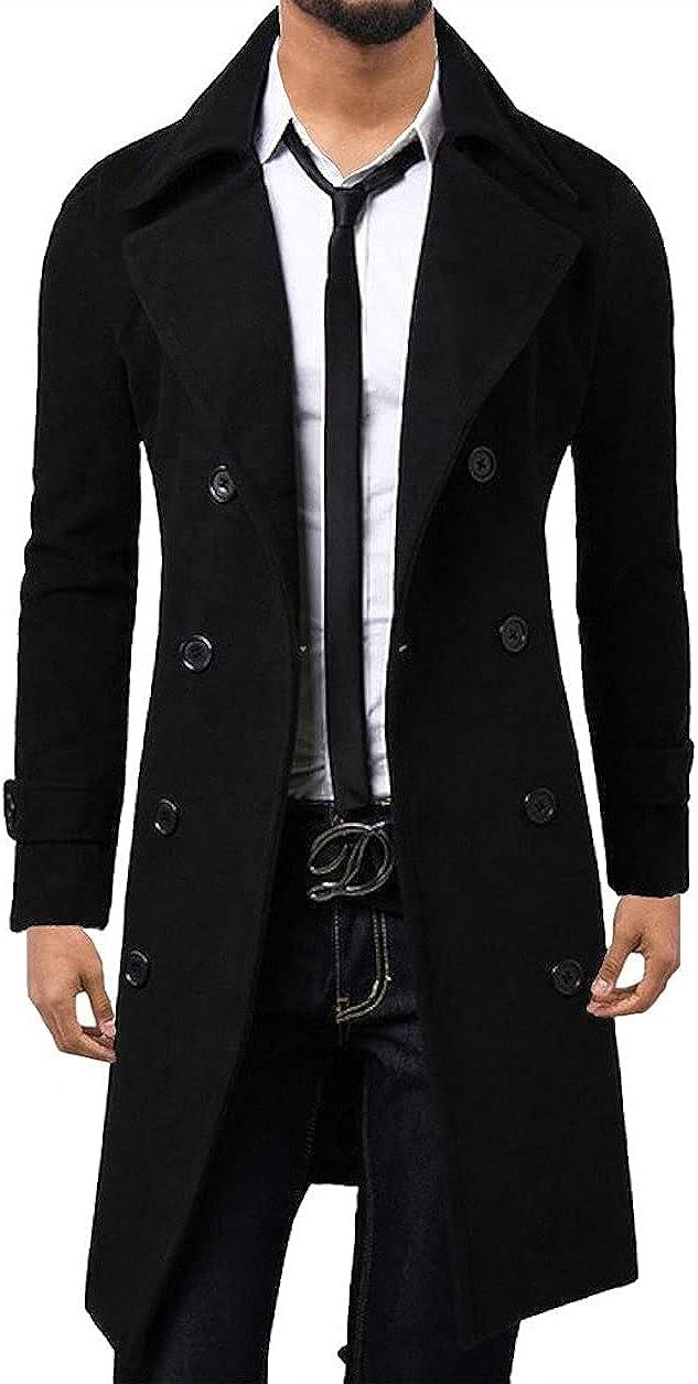 SOUGAO Men's Winter Mid-Length Warm Woolen Coat Double Breasted Peacoat Overcoat