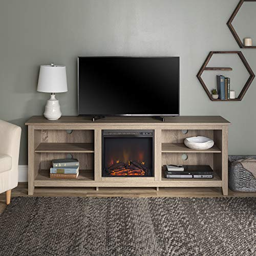 "Walker Edison Furniture Company Minimal Farmhouse Wood Fireplace Universal Stand for TV's up to 80"" Flat Screen Living Room Storage Shelves Entertainment Center, 70 Inch, Grey/Brown"