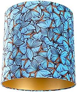 QAZQA Algodón Pantalla terciopelo diseño mariposa 40/40/40 interior dorado, Redonda/Cilíndrica Pantalla lámpara colgante,Pantalla lámpara de pie