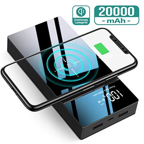 Powerbank Wireless Charger,TOVAOON 20000mAh Hohe Kapazitat Tragbares Ladegerät Kabellose Tragbare Externer Akku Pack mit LED-Digital Display,Batterieladegerät kompatibel mit Smartphones (Schwarz)