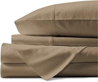 BlueClans 4 Piece Sheets Set 100% Egyptian Cotton 800 Thread Count 18 inch Deep Pocket Soft Luxury Hotel Bedding Collection - Flat Bedsheet, Fitted Sheet & 2 Pillowcases (California King Taupe)