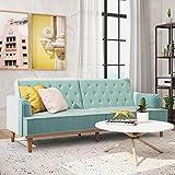 Mr. Kate Stella Vintage Convertible Sofa Bed Futon, Teal Velvet