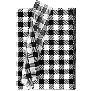 Whaline 120 Sheet Christmas Wrapping Paper White Black Buffalo Plaid Tissue Paper Rustic for DIY Christmas Wrapping 13.78  x 19.69