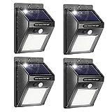 Solar Wall Lights Outdoor, iToncs Waterproof Super Bright Solar Motion Sensor Security Lights Wireless Solar Powered Light for Garden (4 Pack)