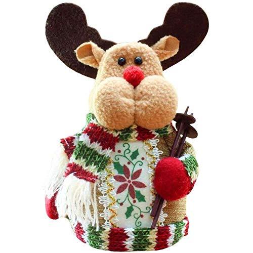 YuKeShop Juguete de peluche de Navidad, exquisito y encantador Sentado Papá Noel muñeco de nieve adorno de reno para dormitorio, estudio, cafetería