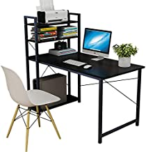 Smilee Home Office Desk with Shelves, 120cm Computer Desk Workstation, Sturdy Metal Frame Compact Studying Table for Home ...