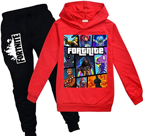 Kids Fortnite Pullover Hoodie and Sweatpants Suit for Boys Girls 2 Piece Outfit Sweatshirt Set Red
