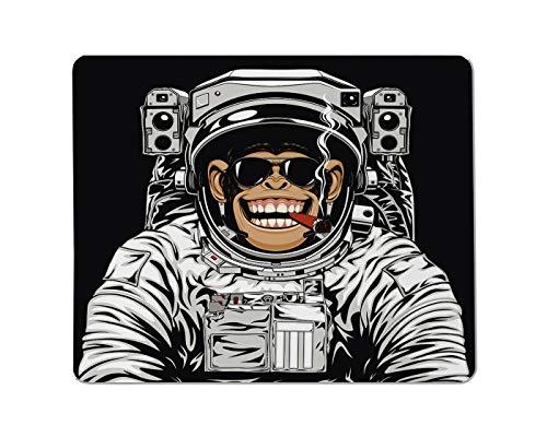 Yeuss Grappige astronauten Rechthoekige Niet-lip Mousepad Grappige chimpansee in astronaut pak roken een sigaar Gaming muismat 200mm x 240mm