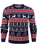 iClosam Herren Weihnachtspullover Lustige Strick Christmas Sweater Pullover mit Rundhalsausschnitt