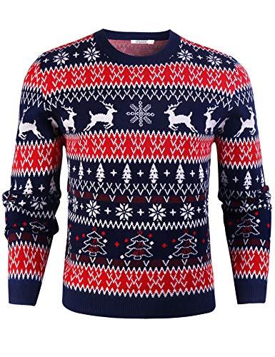 iClosam Pull de Noël Homme à Manche Longue Tricots Top Pullover Imprimé Col Rond -Multicolore - M