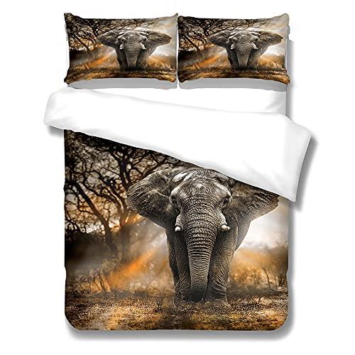 HYBWSO Funda Nórdica Elefante Animal árbol Gris marrón 3D Juego de Ropa de Cama con 240cmx220cm...
