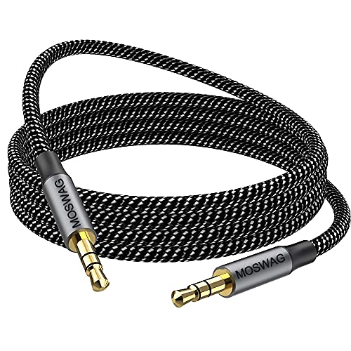 MOSWAG 10FT/3Meter 3.5mm Audio Aux Jack Cable to 3.5mm Aux Cable Male to Male Aux Cord Nylon Braided Stereo Jack Cord for Phones,Headphones,Speakers,Tablets,PCs,Music Players and More