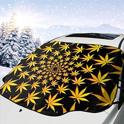 FETEAM Winddichte Windschutzscheibe Schneedecke Auto Sonnenschutz Visier Goldenes Marihuana verlässt Vektormuster Cannabis Winter Frostschutz Protector Alle Fahrzeuge