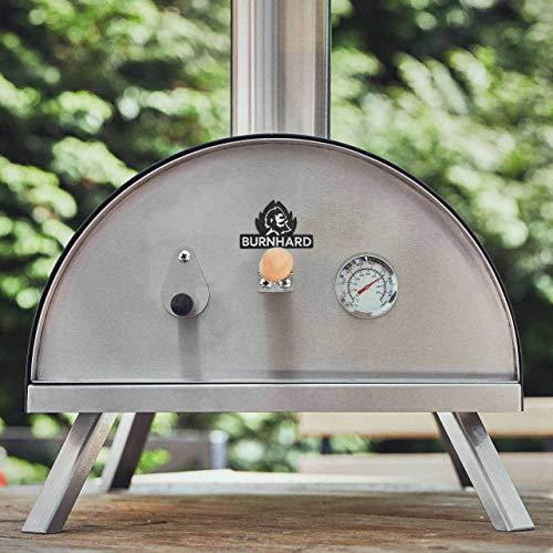 BURNHARD Forno per Pizza da Esterno in Acciaio Inox Nero, con Palla e Pietra per Pizza, Forno a Legna Premium per Il Giardino, Adatto per l'uso con Pellet, Carbone e Bricchette