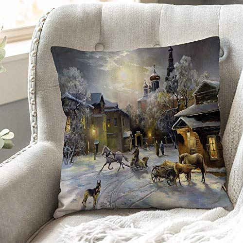 Cushion Covers 45cm x 45cm,Country Set,Winter Landscape of a Western Town at Night in New Wo,18x18 inches Soft Polyester Square Decorative Throw Pillow Cases for Living Room Sofa Couch Bed Pillowcases