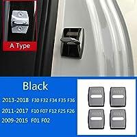 HXKGSMG 高品質のステンレススドアロックカバー4pcsカースタイリングドアロックカバーキャップ保護。 ためにBMWの場合1 2 3 4 5 7シリーズX1 X2 X3 X4 X5 X6 F30 F10 F15 F16 F34 F07 F01 F15 F16 (A Type Black)