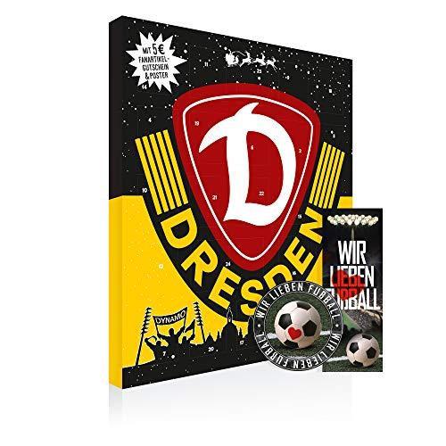 SG Dynamo Dresden Premium Schoko-Adventskalender, Weihnachtskalender (200g), mit 25 großen Schoko-Talern FAIRTRADE-KAKAO und einem tollen Vereinsposter