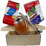 Yerba - Juego de té mate Pajarito tradicional 250 g + Taragüi tradicional 250 g | Vaso mate de calabaza, hecho a mano – Calebass, pajita de acero inoxidable – Bombilla | Cepillo de limpieza La