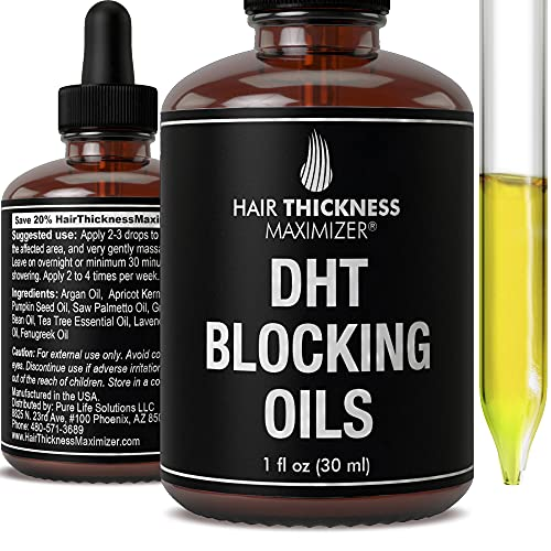 DHT Blocker Hair Growth Oil. Best DHT Blocking Serum Treatment for Hair Loss And Thinning. Hair Regrowth + Thickening Oils Include Argan, Saw Palmetto, Pumpkin Seed, Apricot Kernel For Men, Women 1oz