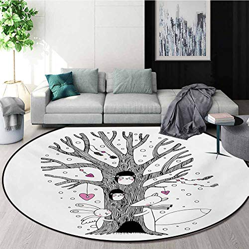 Buy RUGSMAT Doodle Modern Machine Round Bath Mat,Monochrome Tree with Playing Children Bunny and Fox...