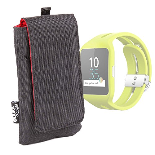 DURAGADGET Funda Acolchada Negra/Roja para Reloj Sony Smartwatch 3 Sport   Garmin Forerunner 230 - Impermeable
