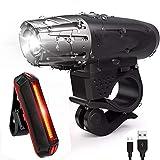ライト 自転車ライトセット サイクルライト USB充電式LEDヘッドライト&テールライト 高輝度 多種モート調節可能 前照灯&尾灯セット