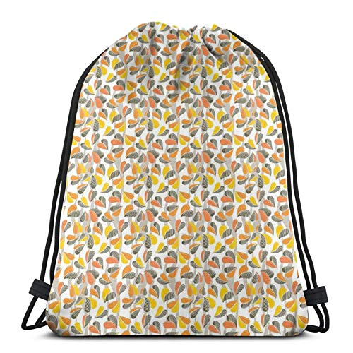 Abstract Autumn Leaves Romantic Times Of The Year Heart Shaped Foliage,Gym Drawstring Bags Backpack String Bag Sport Sackpack Gifts For Men & Women