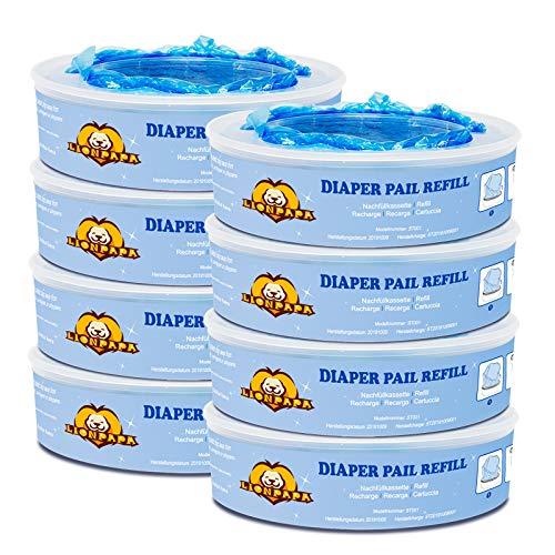 Diaper Pail Refills for Diaper Genie and Munchkin Diaper Pails, 2160 Count, 8 Pack