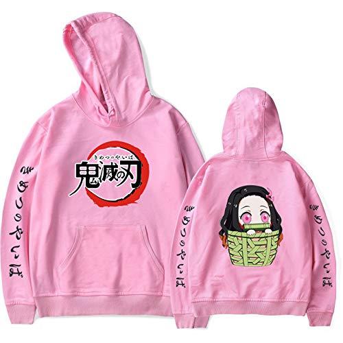 JHDESSLY Anime Demon Slayer Casual Impreso Pullover Sudadera Con Capucha Hombres/Mujeres Harajuku Plus Tamaño XXS-4XL Rosa