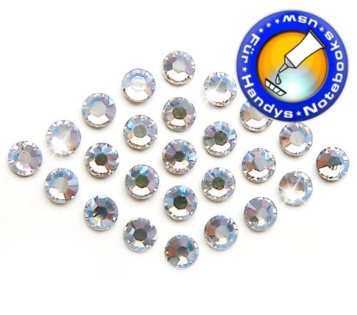 Swarovski 100 Stück Elements 2058 KEIN Hotfix, Crystal Moonlight, SS9 (Ø ca. 2,6 mm), Strasssteine zum Aufkleben
