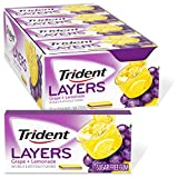 Trident Layers Grape & Lemonade Sugar Free Gum, Lemonade Gum, 12 Packs of 14 Pieces (168 Total Pieces)