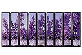 codiarts. Etichette autoadesive per raccoglitori larghi, raccoglitore ad arco a leva, 300 mm x 61 mm, set di 9 etichette, motivo: viola lavanda