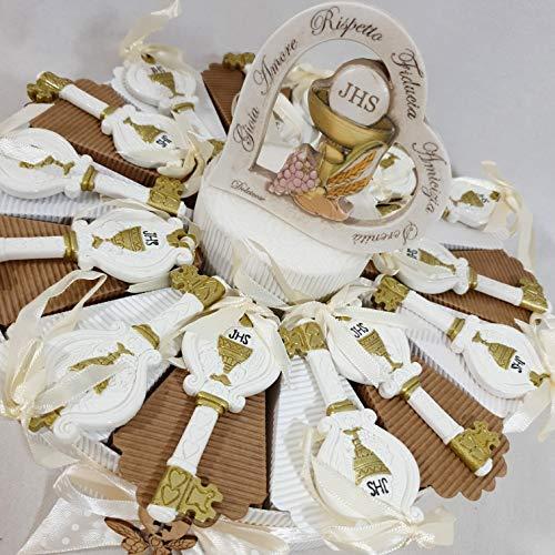 Torta porta bomboniere con chiavi appendino prima comunione con calice e ostia JHS + centrale albero della vita + confetti sigillati