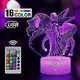 Einhorn Geschenk Einhorn Nachtlicht für Kinder, 3D Licht Lampe 7 Farben ändern mit Remote Urlaub und Geburtstagsgeschenke Ideen für Kinder (Einhorn 7)
